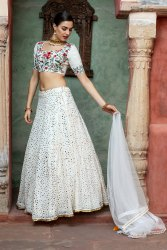White Georgette Wedding Wear Lehenga Shivika Brides Book 10, Size: 42 Length