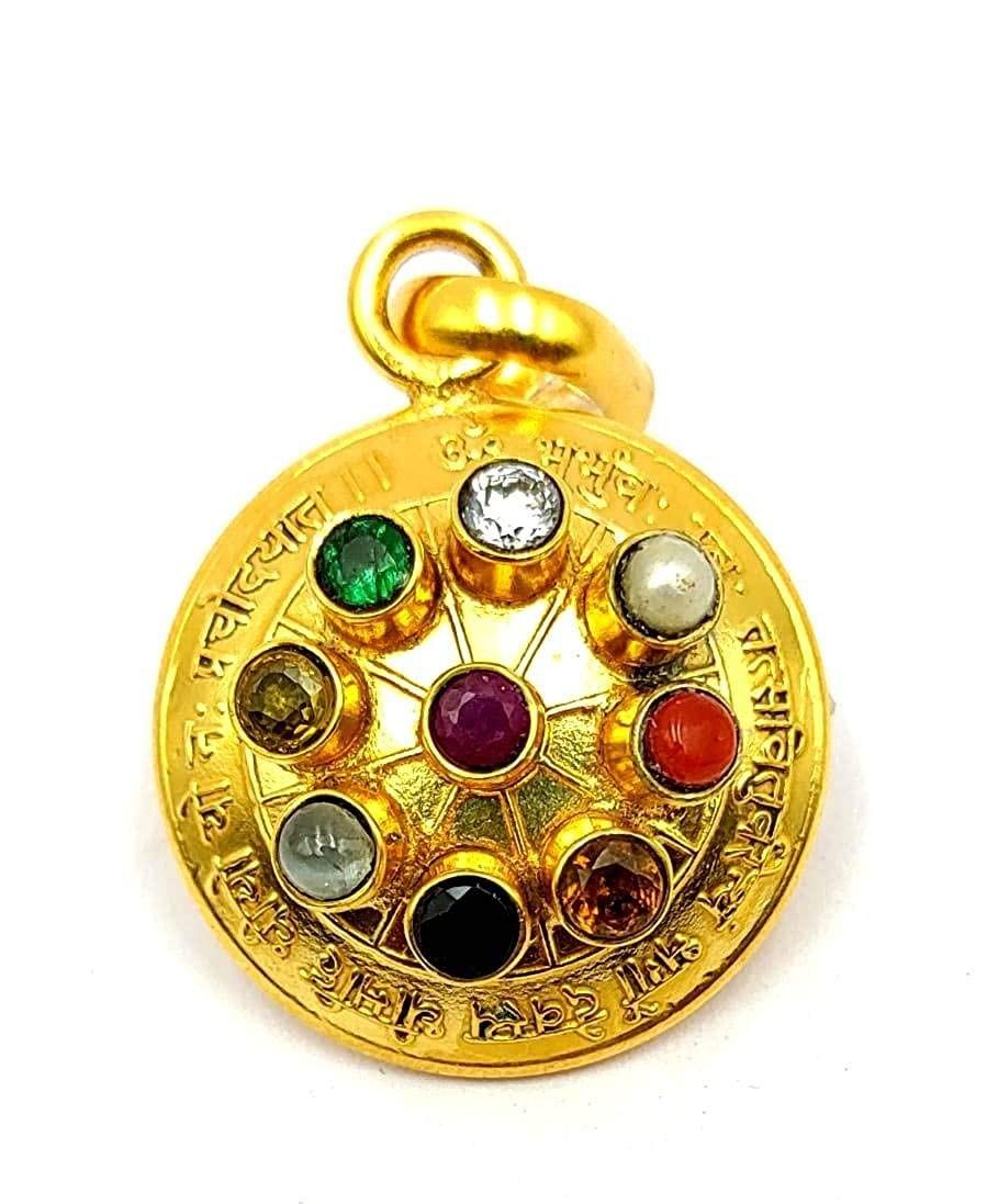Navaratna 9 Stones Navgrah Astrological Pendant In Round Shape