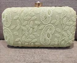 Embroidered Fabric Lucknowi Clutch Purse, Size: 4 X 7 X 2 Inch
