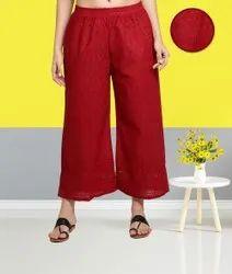 Maroon Fabclub Cotton Chikan Free Size Women Palazzo
