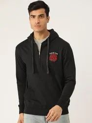 Harbornbay Men Black Solid Hooded Sweatshirt