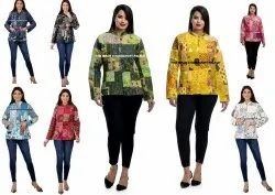 Women Reversible Quilted Jacket Indian Patchwork Casual Cotton Winter Warm Coat