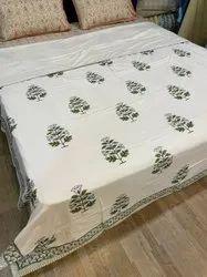 Hand Block Printed Green Floral Design Cotton Pure White Dohar 90x108