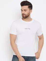 HARBORNBAY Men White Printed Round Neck T-shirt