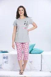 Women's Cotton Printed Capri Night Suit / Capri Set / Sleepwear/ Nightdress/ Lounge Wear