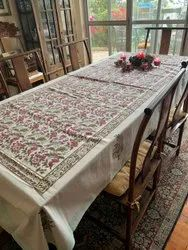 Hand Block Printed Floral Indian Cotton Table Linen