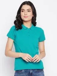 Harbornbay Women Teal Polo Collar Cut Outs T-shirt