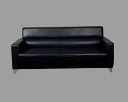 Wooden And Aluminium Black Leather Three Seater Sofa, Living Room