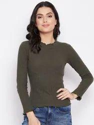HARBORNBAY Women Olive Green Pockets T-shirt