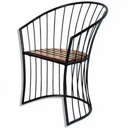 Sun Handicrafts Wooden & Wrought Iron Stacking Chair for Garden Patio Balcony Home and Office Black