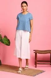 Janasya Women's Blue Cotton Top (JNE3655)