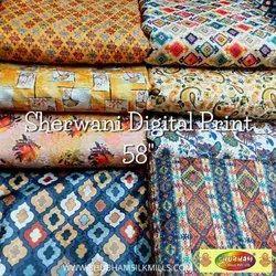 Jacquard Digital Printed Sherwani Fabric, Multicolour