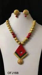 Terracotta long necklace