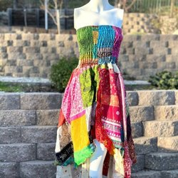 Silk Halter Top Patchwork Dress Summer Dress Scrunch Top Indian Sari Handkerchief Dress