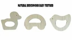 Beach Wood White Baby Wooden Teether, Packaging Type: Box