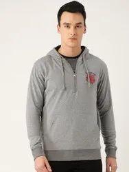 Harbornbay Men Grey Melange Applique Detail Hooded Sweatshirt
