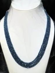 Natural UNTREATED BURMESE Blue Sapphire Faceted rondelle stone Beads Necklace