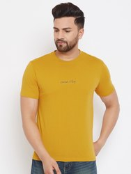 Harbornbay Men Mustard Yellow Solid Round Neck T-shirt