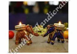 Nirmala Handicrafts Exporters Elephant Wax Candle Holders Diwali Decoration 3 inch