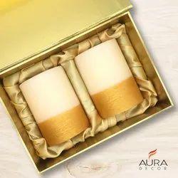 Auradecor Set of 2 Fragrance Pillar Candle