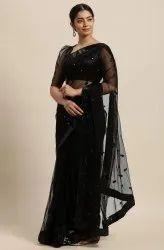 Janasya Women's Black Net Embroidered Saree With Blouse Piece (SAR072)