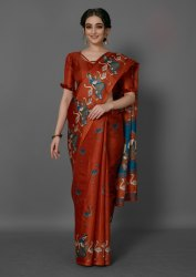 Orange Color Bird Printed Khadi Silk Saree