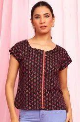 Janasya Women's Black Cotton Top (JNE3657)