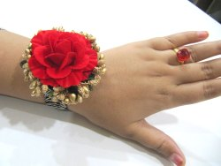 Designer Floral Red Color Bracelet Free Size Gift For Her, Women Gift , Romantic Flower Bracelet