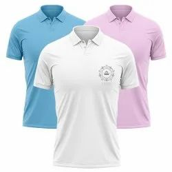 White Pink Sky Blue Polo Collar Tshirt with customized logo print
