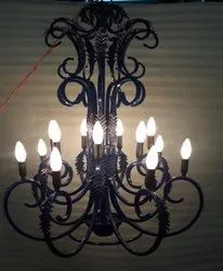 Iron Arms Style Royal Antique Blue Metal Chandelier
