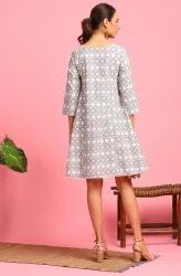 Janasya Women's Cream Cotton Flex Western Dress (JNE3707)
