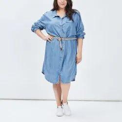 Export Surplus Plus Sizes Denim Tunic Dress