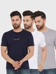HARBORNBAY Men Pack of 3 Solid Round Neck T-shirt