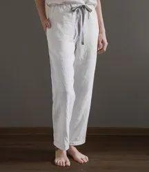 Zedaar Solid Dye Linen Pants For Women