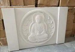 White Buddha stone mural