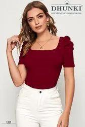 Dhunki Plain Womens Fancy T Shirts, Formal