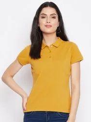 HARBORNBAY Women Mustard Yellow Polo Collar T-shirt