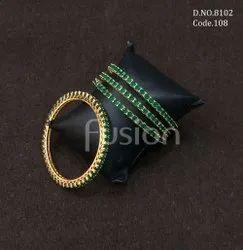 Fusion Arts American Diamond Emerald Bangles