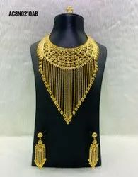Long Traditional Antique Gold Plated Necklace With Earring & Ring