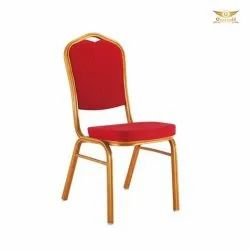 Red Polished Metal Banquet Chair