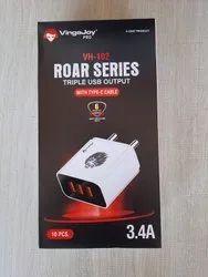 Vingajoy White Triple USB Output Adapter, 12 V