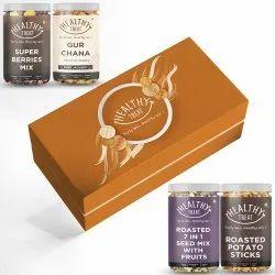 Healthy Treat Celebrations Gift Box, Pack of 4 Healthy Snacks , Diwali Combo Gift Hamper