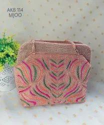 Female Embroidered Beautiful Fashionable jute Bags Akb 114