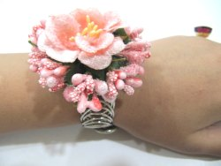 Designer Floral Pink Color Bracelet Free Size Gift For Her, Women Gift , Romantic Flower Bracelet