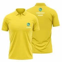 Yellow Polo Tshirt with Company Logo Print