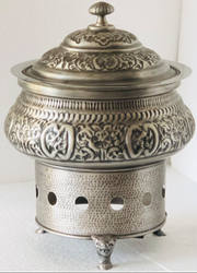 Smokey Silver Embossed Finished Hawa Mahal Chafer