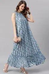 Janasya Women's Blue Poly Georgette Western Dress  (J0333)