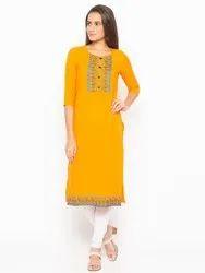 Women Embroidered Crepe Straight Kurta(Orange)