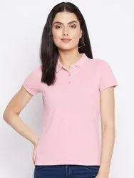 HARBORNBAY Women Pink Polo Collar Pockets T-shirt
