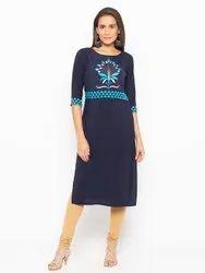 Women Embroidered Crepe Straight Kurta ( Navy Blue)